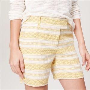 Loft Textured Geo Print Riviera Yellow Shorts